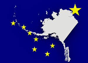 Alaska Flag and Map