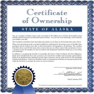 Certificate Of Ownership State Of Alaska PFD